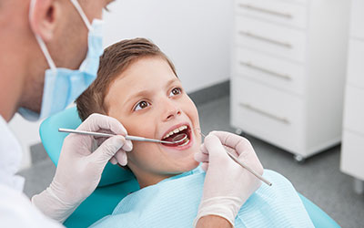 Young boy in dental chair